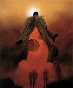 Dieu-de-la-mort-lune-Zdzislaw-Beksinski-Oeuvre-D-coration-art-travail-peinture-Impression-Sur-Toile