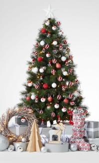 agrément-décoration-sapin-de-noël-rouge-et-blanc-étoile-blanche-belle-déco-simple-sapain